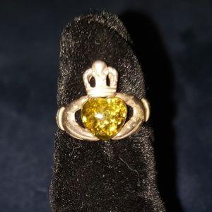 Amber Claddagh Ring